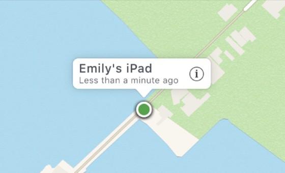 La localisation exacte dans Localiser mon iPhone est déterminée par le point vert